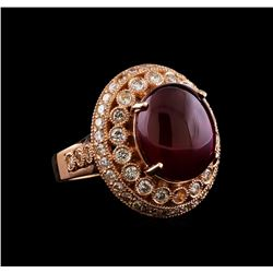 12.84 ctw Ruby and Diamond Ring - 14KT Rose Gold