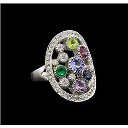 14KT White Gold 1.69 ctw Multi Gemstone and Diamond Ring