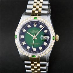 Rolex Two-Tone Green Diamond and Emerald DateJust Men's Watch