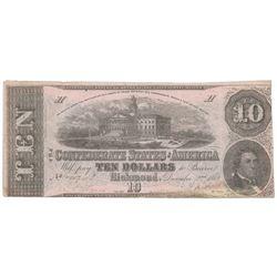 1862 $10 The Confederate States of America Note T-52 CC