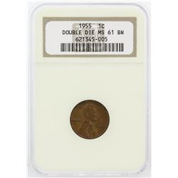 1955 NGC MS61 BN Doubled Die One Cent