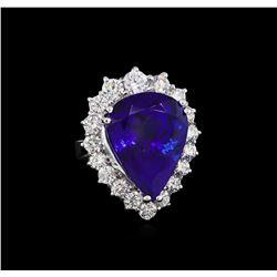 14KT White Gold GIA Certified 27.66 ctw Tanzanite and Diamond Ring