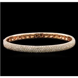4.21 ctw Diamond Bangle Bracelet - 14KT Rose Gold