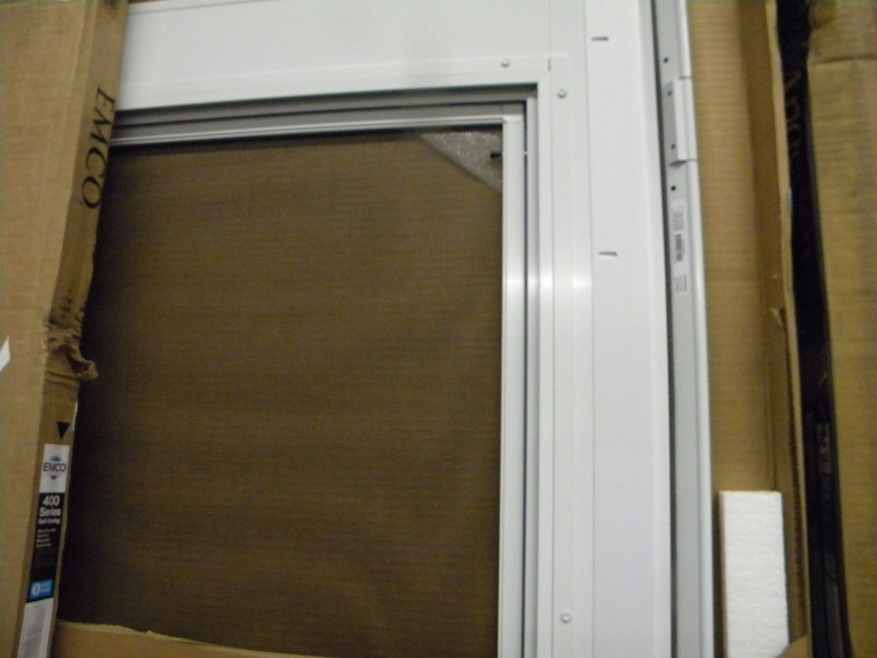 (new) white emco 34x80 (universal) storm door with screen
