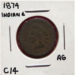 Four Indian Head Cents 1874 AG. 1909 G6.  1909 VG8. 1904 VF25 $25-35