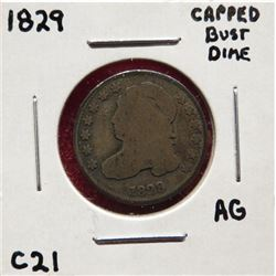 1829 Capped Bust Dime AG. Square base 2. $15-25