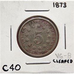 1873 Shield Nickel VG8. (Cleaned). $15-25