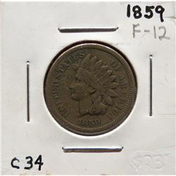 Group of three coins: 1859 Indian Head Cent Fine12.  1859 Indian Head Cent Good4. 1859 Indian Head C