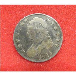 1824 Capped Bust Half Dollar VG10. $75-100