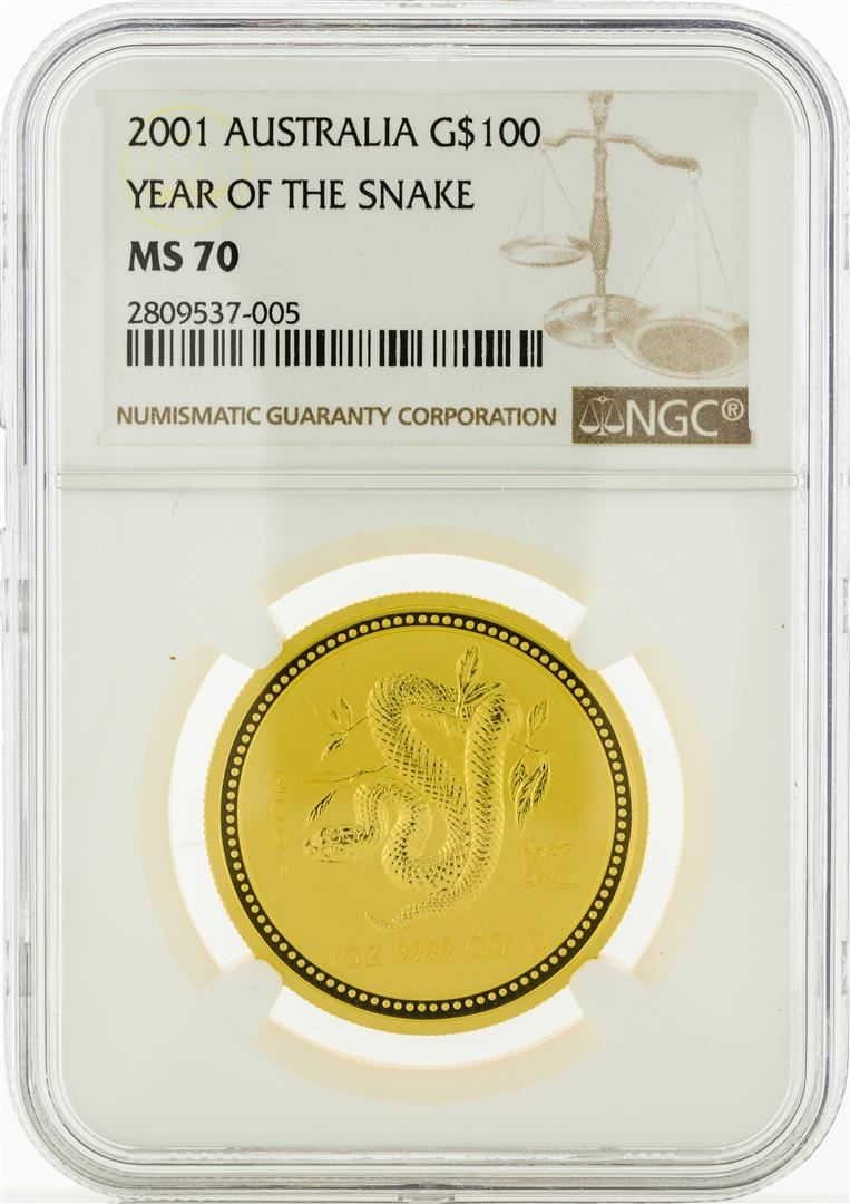 2001 NGC MS70 $100 Year Of The Snake Gold Coin