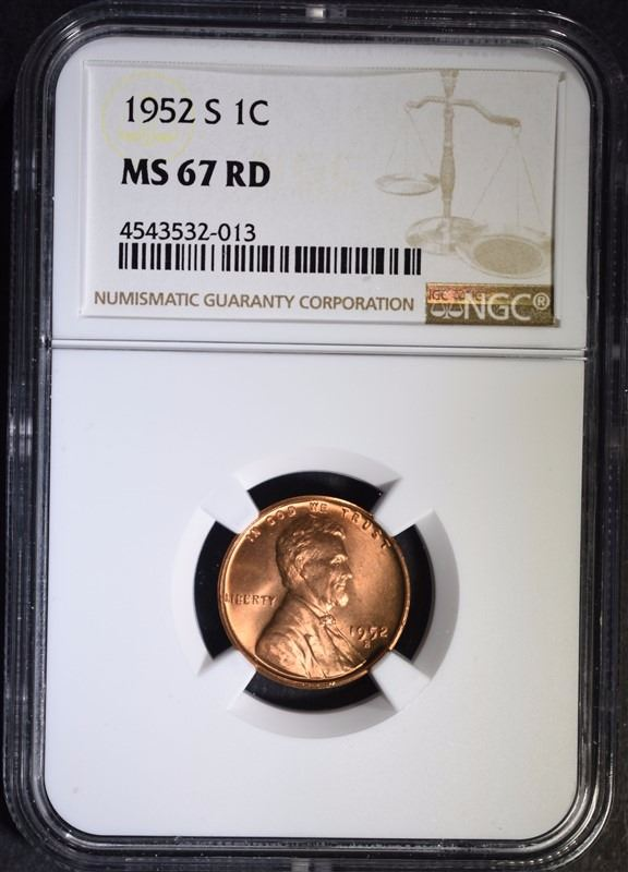 1952-S LINCOLN CENT, NGC MS-67 RED NGC PRICE GUIDE=$650 00