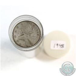 1948 Canada 25-cent Roll of 40pcs in a Plastic Coin Tube in Circulated Condition.