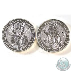 Pair of 2oz .9999 Fine Silver Queen's Beasts Coins - 2016 Lion of England (Toned & Scratched) & 2017