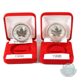 Pair of 1998 Canada Privy .9999 Silver Maple Leafs - RCMP & Titanic. Coins come encapsulated in red
