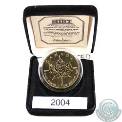2004 Canada $5 1oz .9999 Fine Silver Gold Plated Maple Leaf from First Commemorative Mint. Comes enc