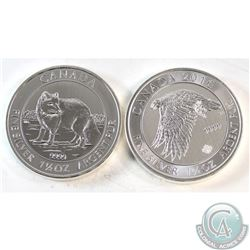 Pair of Canada $8 1.5oz Fine Silver Coins - 2014 Arctic Fox & 2016 Snow Falcon (toned). 2pcs (TAX Ex