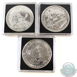 3x Great Britain 2 Pound 1oz Silver Britannia Dated 2007, 2009 & 2010 in Capsules (2007 & 2010 are t