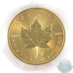 2014 Canada 1oz .9999 Fine Silver 24k Gold Gilded Maple Leaf Coin (Tax Exempt)