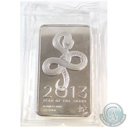 2013 Year of the Snake 10oz .999 Fine Silver Bar Sealed in Plastic (TAX Exempt)