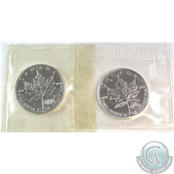 1999 & 2000 Canada Fireworks Privy Fine Silver Maple Leafs in Original Pliofilm Plastic (Coins are l