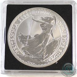 2006 Great Britain 1oz 2 Pound Fine Silver Britannia in Square Capsule (Lightly scuffed on obverse).