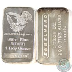 Pair of Vintage Engelhard 1oz 999+ Fine Silver Bars - Original Design & Eagle Design. 2pcs (TAX Exem