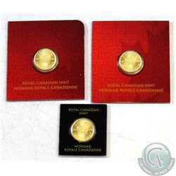 3x Canada 1g RCM Fine Gold Maple Leafs Dated 2x 2015 & 2017. 3pcs (TAX Exempt)