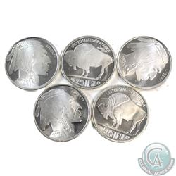 Lot of 5x 2011 Liberty 1oz .999 Fine Silver Rounds. 5pcs (TAX Exempt)