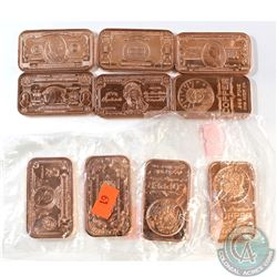 10x Miscellaneous 1oz .999 Fine Copper Bars with Various Designs. 10pcs (TAX Exempt)