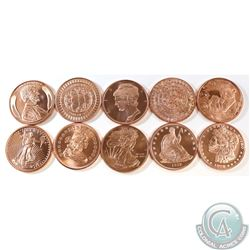 10x Miscellaneous 1oz .999 Fine Copper Rounds with Various Designs. 10pcs (TAX Exempt)