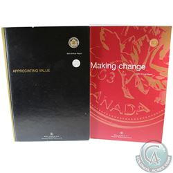 2003 Royal Canadian Mint's Annual Report with Gold Plated 1 Cent & 2004 Canada RCM Annual Report wit