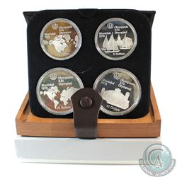 1976 Montreal Olympics 4-Coin Silver Proof Set # 1-4. with Original Display Box and Certificate of A