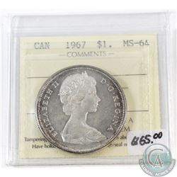 1967 Canada $1 ICCS Certified MS-64 Cameo