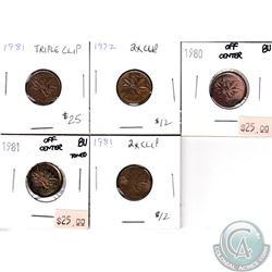Group Lot 1972-1981 Error 1-cent Coins. You will receive the following: 1972 2x Clipped, 1980 Off Ce