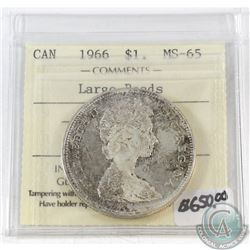 1966 Canada Large Beads $1 ICCS Certified MS-65