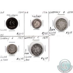 Estate Lot of 5x Great Britain & German Silver Coinage Dated 1874-1916. 5pcs