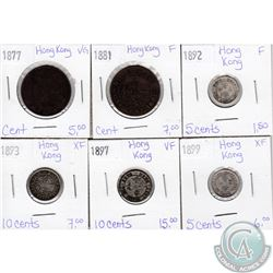 Lot of 6x Hong Kong Coinage Dated 1877-1899 in VG to XF as per holders. 6pcs