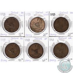 Lot of 6x Irish Coinage Dated 1928-1941 in XF to UNC as per holders. 6pcs