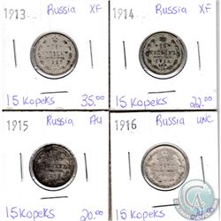 Lot of 4x Russian Coinage Dated 1913-1916 in XF to UNC as per holders. 4pcs