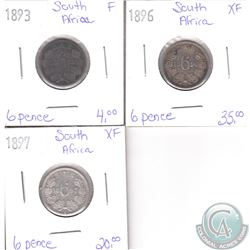 Lot of 3x South African Coinage Dated 1893, 1896 & 1897 in F to XF as per holders. 3pcs