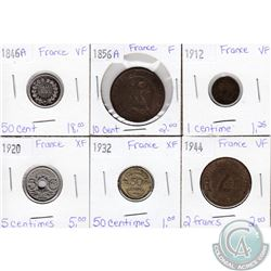 Lot of 6x French Coinage Dated 1846-1944 in F to XF as per holders. 6pcs
