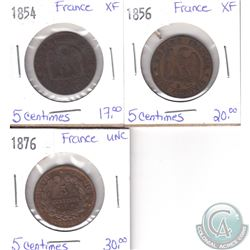 Lot of 3x French Coinage Dated 1854, 1856 & 1876 in XF or UNC as per holders. 3pcs