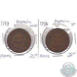 1913 VF-EF & 1934 EF Australian Pennies as per holders. 2pcs
