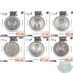 Lot of 6x German Federal Republic 5 Mark Coins Dated 1968-1979 in UNC to Choice BU. 6pcs