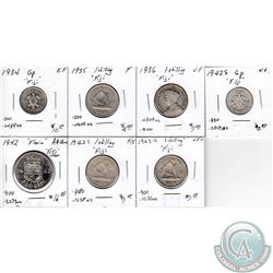 Estate Lot of 7x Fijian Silver Coinage Dated 1934-1943 in F to AU-UNC as per holders. 7pcs