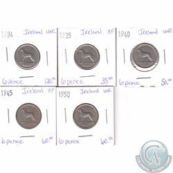 Lot of 5x Irish Coinage Dated 1934-1950 in XF or UNC as per holders. 5pcs