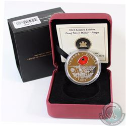 2010 Canada Limited Edition Proof Sterling Silver Poppy Dollar (Outer sleeve lightly worn) (TAX Exem