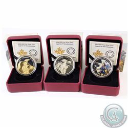 Lot of 3x 2014 Canada $20 Nanaboozhoo Fine Silver Coins - Legend of Nanaboozhoo Coloured, Nanaboozho