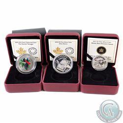 Lot of 3x RCM Coins - 2013 $3 Martin Short Presents Canada Fine Silver, 2014 $5 Alice Munro Fine Sil
