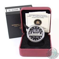 1935-2010 Canada $1 Voyageur Limited Edition Proof Sterling Silver Dollar.